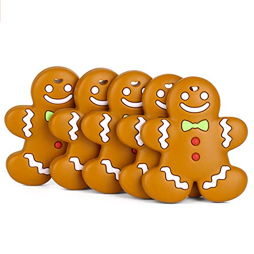 Natural Organic BPA Free Infants 0-12 Months Boy and Girl Ginger Bread Man Baby Teething Toys Self-Soothing Pain Relief Soft Silicone Teether for Babies Toddlers