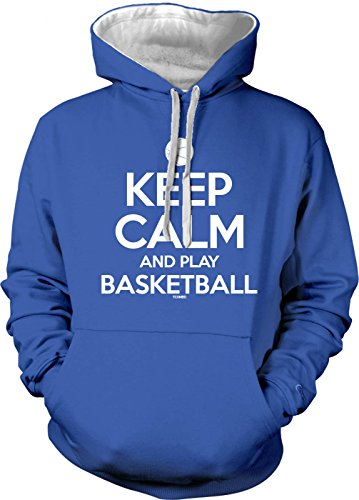 Keep Calm and Play Basketball Men's 2 Tone Hoodie Sweatshirt (Small, Royal Blue/White String)