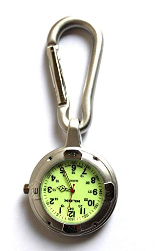 Silver Clip on Carabiner FOB Watch for Doctors Nurses Paramedics Chefs Sports Luminous Glow in the dark face