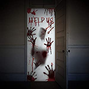 Unomor Halloween Window Door Covers Haunted House Decorations, Scary Bloody Handprint Props, 80×35.5″