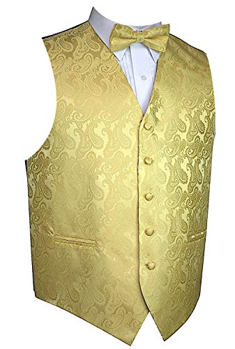 Brand Q Men's Paisley Vest Bow-Tie Set-Gold, M (chest 42)