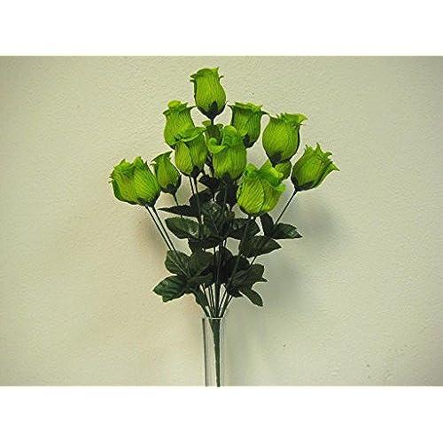 Lime green flowers amazon phoenix silk rose bud bush 14 artificial silk flowers 17 bouquet 643 lime mightylinksfo