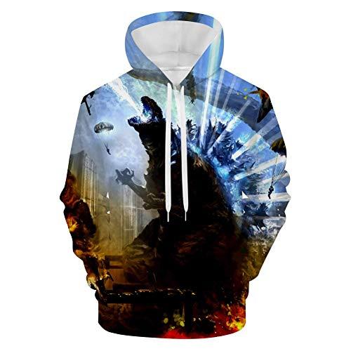 BEKAI G-od-Zill-a City War Mens 3D Hoodie,Pullover Print Velvet Sweatshirt Sportswear with Pockets White