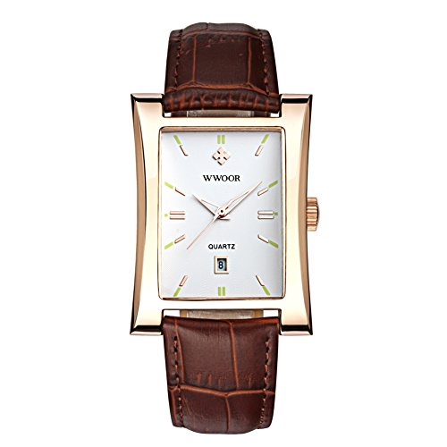 FIZILI 8017 Square Dial Brown Band Men's Dress Watch, Japan Movt, Date Display, Gold - Square Face Men