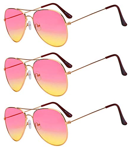 Case of 3 Pairs Aviator Sunglasses Two Tone Pink Yellow Lens Gold Metal ()