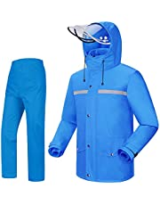 iCreek Rain Suit Jacket & Trouser Suit Raincoat Unisex Outdoor Waterproof Anti-Storm (L-USA, Blue)