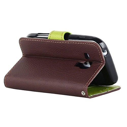 S3 Mini Tasche,Galaxy S3 Mini Hülle,Kakashop Samsung Galaxy S3 Mini Schlank Vollkörper Einzigartige Blatt Art Taste Design Schalenkoffer Flip Buchstil Weichen Silikon Magnetverschluß mit Standfunktion