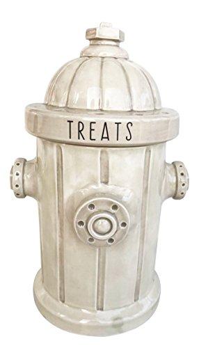 Blue Sky Ceramic Fire Hydrant Treat Jar, White ()