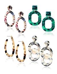Finrezio Mottled Acrylic Dangle Drop Earrings Resin Stud Earrings Bohemian Statement Drop Dangle Earrings Fashion Jewelry