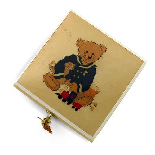 Amazing 22 Note Beige & Ivory Navy Thread Bear with Toys Music Box - Wedding March - 1 Available by MusicBoxAttic