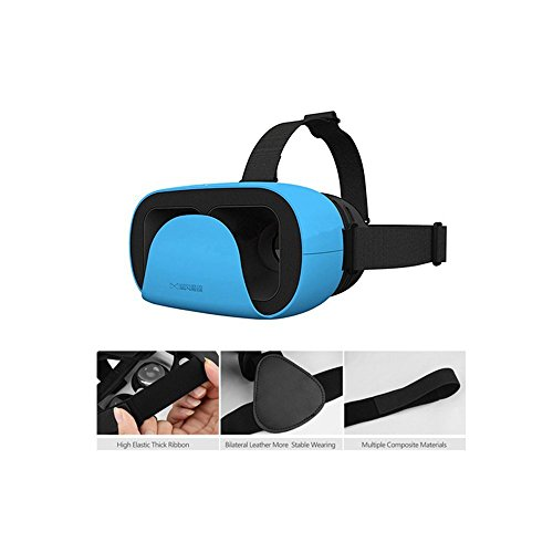 Uvistar 3D Glasses VR Virtual Reality Headset Adjust Cardboard Reality Present for 4.7 - 6 inch Smartphone Blue