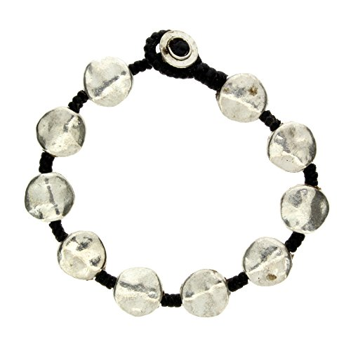 Silver Round Hammered Alloy Bracelet Waxed Linen Wristband Bali Costume Jewelry