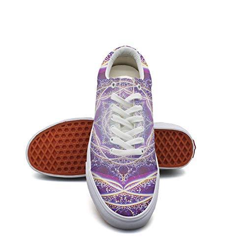 LadyPopular Crown Decor Retro Mandalas.JPEG Canvas Shoes Low-Cut Straps Classic Sneakers Suitable for Walking -