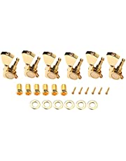 Alnicov 6PCS 3L3R Guitar String Tuning Pegs Sealed Machine Heads Tuners Kit for Gibson Les Paul Electric Acoustic Guitars Gear Ratio of 1:18-Gold