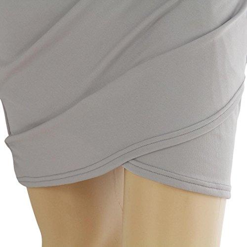 Nouveau Femmes Serrée V Casual Manches Col Adeshop Élégant Soirée Jupe De Chic Slim Évider Moulante Sexy Longues Crayon Pure Robe Gris Couleur Bandage HWq01REwg