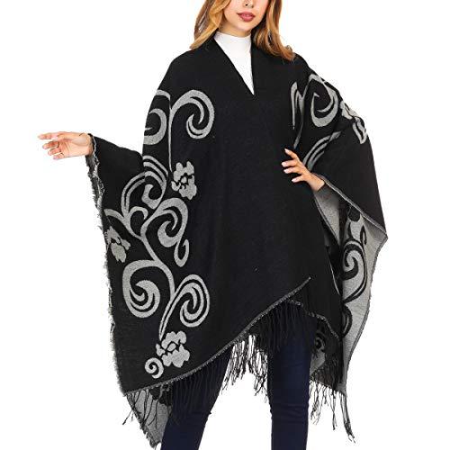 - DoFiyeng Women Poncho Shawl Poncho Cape Cardigan Open Front Elegant Cape Wrap Shawl Wrap(Black white)