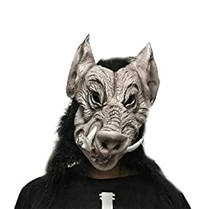aloiness Máscara de Cabeza Animal Halloween Látex de Cabeza de Jabalí para Cosplay Bar Dance Party Props: Amazon.es: Hogar
