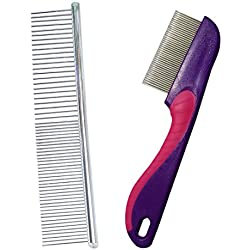 Pet Grooming Combs And Brushes Clippers Pet Combs For Dogs And Cats And Pet Flea Comb (purple, The package contain 2 products)