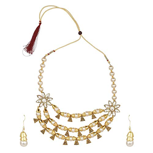 Efulgenz Boho Multi Layered Indian Oxidized Pearl Beaded Vintage Tribal Statement Choker Necklace Earrings Jewelry Set ()