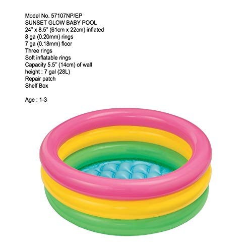 Intex 3KB Kid's Inflatable Baby Bath Tub Pool, 2ft, 3-4 years (Multicolour)