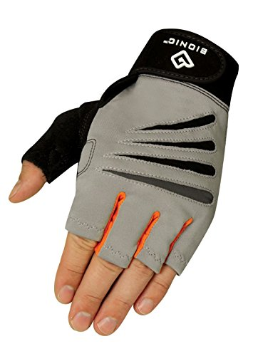 Bionic Glove Men's Cross-Training Fingerless Gloves w/ Natural Fit Technology, Gray/Orange (PAIR) (Mens Gloves Bionic Fitness)