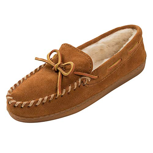 Minnetonka Women's Hardsole Pile Lined Slipper,Brown,6 M US