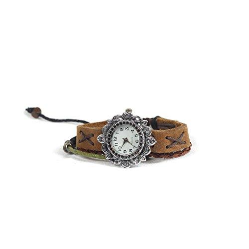 Women Weave Wrap Leather Bracelet Wrist Watch Brown - 7