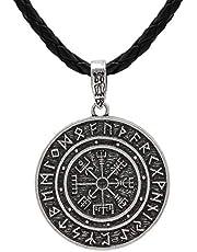 HLARK Colgante de Collar Vikingo con Runas Vegvisir Amuleto Céltico Joyería para Hombre