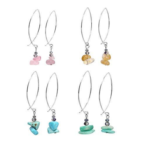 Faceted Gemstone Drop - JOVIVI 4Pairs Natural Rose Quartz Citrine Turquoise Gemstone Faceted Glass Beads Drop Dangle Earrings Fish Hook Hoop Women Girls Gemstone Jewelry
