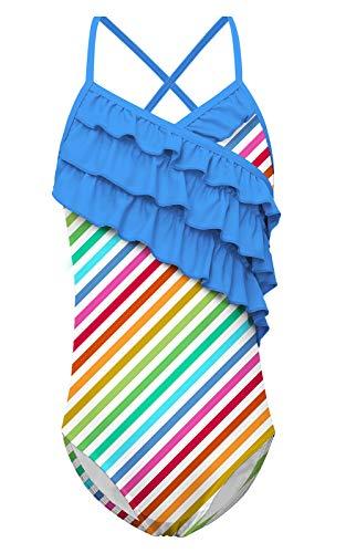 (Funnycokid Little Girls' Summer One-Piece Swimwear Bathing Suit Kids Rainbow Stripe Ruffle Swimsuit)