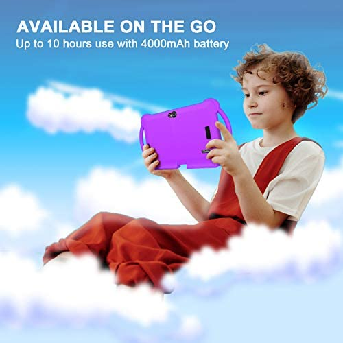Kids Tablet, 7 inch Tablet for Kids, Android 9.0 GMS Tablet, 3GB RAM 32GB ROM Kids Edition Tablet with WiFi, Pre-Loaded 3-d Game, Dual Camera, Purple Kid-Proof Case