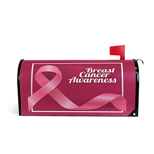 Breast Cancer Pink Ribbons Magnetic Mailbox Cover Wraps Letter Post Box 20.7