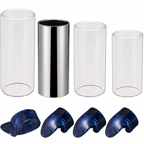 (Canomo Guitar Slides Set Includes 3 Size Glass Slide, 1 Piece Stainless Steel Slide and 4 Pieces Plastic Thumb & Finger Picks with Metal)