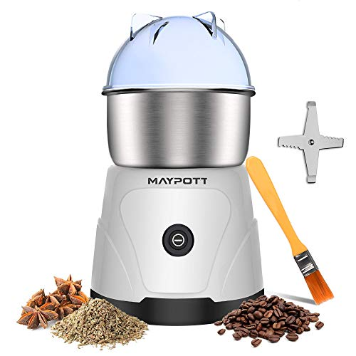 Coffee Grinder Electric Spice Grinder, Maypott 200W Stainless Steel Blade Coffee Bean Grinder 3.5Ounce Capacity with Cleaning Brush, Electric Mills for Coffee Beans, Seeds,Grains, Nut(White)