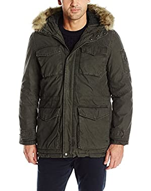 Men's Washed Cotton Sherpa Lined Parka with Removable Faux Fur Trim