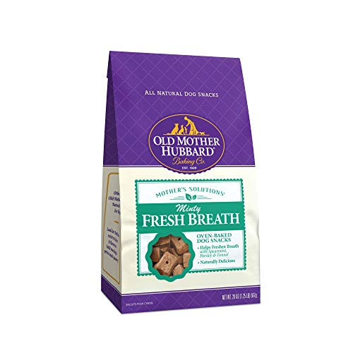 Old Mother Hubbard Mother'S Solutions Minty Fresh Breath Crunchy Natural Dog Treats, 20-Ounce Bag (Peanut Butter Dog Biscuit Recipe With Oatmeal)