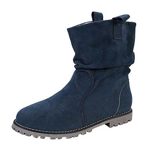 Women's Heels Winter Blue Boots Boots Thick Flat Warm Cotton Shoes Ankle Ankle Anguang Tqxdgwq