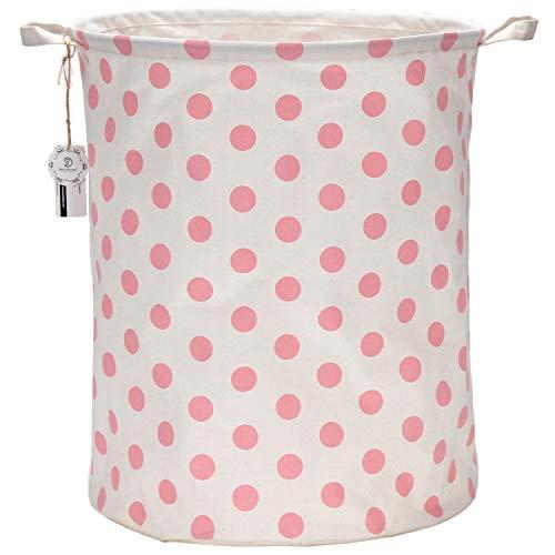 """Sea Team 19.7"""" Large Sized Waterproof Coating Ramie Cotton Fabric Folding Laundry Hamper Bucket Cylindric Burlap Canvas Storage Basket with Stylish Pink & White Polka Dot Design"""