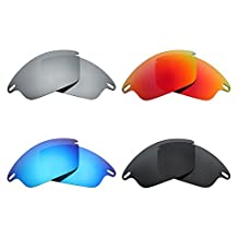 MRY 4 Pairs POLARIZED Replacement Lenses for Oakley Fast Jacket Sunglasses-Stealth Black/Fire Red/Ice Blue/Silver Titanium