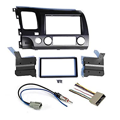 Dark Grey Aftermarket Radio Stereo Double Din Install/Installation Dash Kit with Wiring Harness and Antenna Adapter Fits Honda Civic 2006 2007 2008 2009 2010 2011: Car Electronics