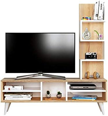 Lily Mueble salón Comedor para televisión - Blanco/Sonoma - Mueble ...