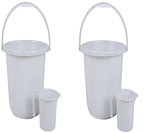 Regalo Unbreakable Plastic Bucket with Mug (16ltr) Combo Pack Set of 2 (White)