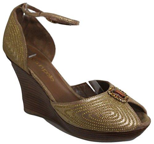 Moda In Pelle  LURU Jewel Trimmed Platform Wedge, Damen Pumps Gold gold 42 (8 UK)