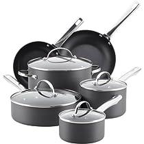Farberware Hard-Anodized Aluminum Nonstick Cookware Set, 14-Piece, Gray