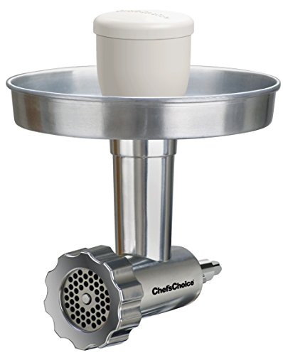 Chef'sChoice 795 Premium Food Grinder Attachment Designed to fit KitchenAid Stand Mixer Includes Medium and Coarse Grinder Plates and Sausage Stuffer Kit, Silver