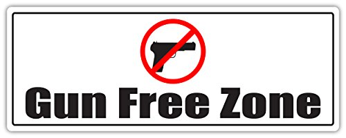 Gun Free Zone No Guns Allowed Weapons Prohibited Possession of Firearms is Considered as a Crime 3M Vinyl Decal Bumper Sticker 3x8 inches
