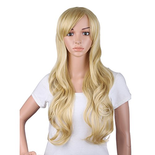 MapofBeauty 50cm/ 20 inch Long Curly Natural Fashion Beautiful Wig (Blonde) (Curly Blonde Costume Wig)