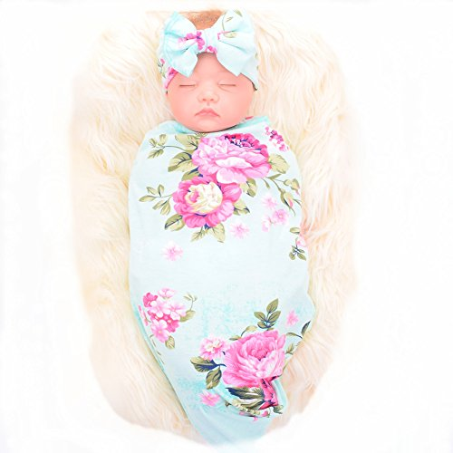 Galabloomer Newborn Receiving Blanket Headband Set Flower Print Baby  Swaddle Receiving Blankets bd8374ef9