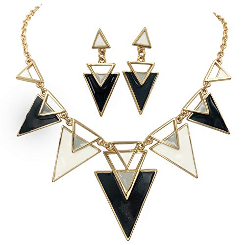 (Gypsy Jewels Chunky Big Bold Statement Unique Funky Large Necklace & Earrings Set (Black & White Gold Tone))