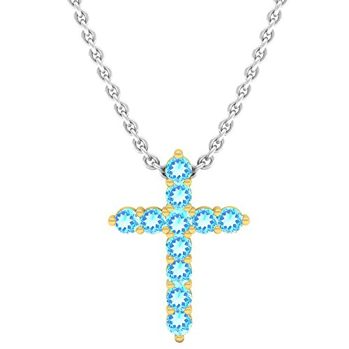 - Dazzlingrock Collection 10K Round Blue Topaz Ladies Cross Pendant (Silver Chain Included), Yellow Gold